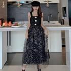 Sleeveless Tweed Glitter Midi A-line Mesh Dress