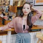 Long-sleeve Chiffon Shirt Pink - One Size