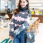 Patterned Turtleneck Long-sleeve Knit Sweater