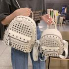 Beaded Faux Leather Backpack
