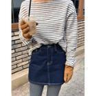 Stitched Denim Miniskirt
