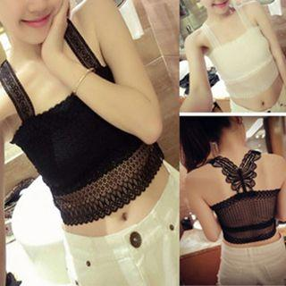 Butterfly Sleeveless Lace Top
