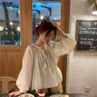 Long-sleeve Tie-neck Chiffon Blouse Off-white - One Size
