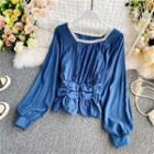 Lace-trim Ruched Long-sleeve Blouse