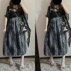 Glitter Mesh Panel Sleeveless Dress Gray - One Size