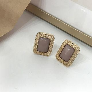 Square Metallic Earrings Gold - One Size