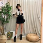 Wool Blend Mini Wrap Skirt With Belt