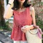 Sleeveless Dotted Open-back Top
