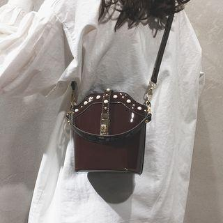 Faux Leather Bead Bucket Bag