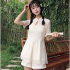 Set: Frog-button Stand-collar Short-sleeve Lace Top + Shorts