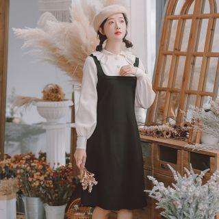 Mock Two-piece Long-sleeve Knit Collared Dress