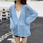 Plain Hooded Long-sleeve Knit Cardigan