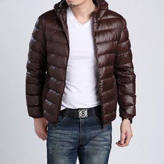 Plain Hooded Down Jacket