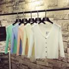 3/4-sleeve Light Rib-knit Cardigan