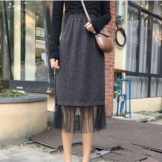 Mesh Panel Midi Straight-fit Skirt