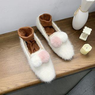 Pom Pom Accent Square-toe Flats