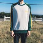 Long-sleeve Color-block Raglan Top