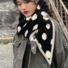 Dot Print Knitted Scarf
