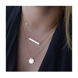 Alloy Disc & Bar Pendant Layered Necklace Gold - One Size