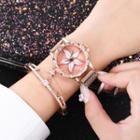 Floral Rhinestone Bracelet Watch