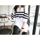 3/4-sleeve Striped Knit Tunic