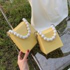 Faux Pearl Strap Flap Crossbody Bag
