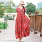 Ethnic Print Cotton Linen Dress