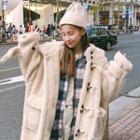 Hooded Toggle-button Fuax-shearling Coat