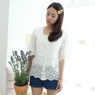 Eyelet-lace Trim Blouse