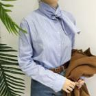 Tie Neck Pinstriped Blouse