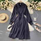 Long-sleeve Belted Midi A-line Shirtdress