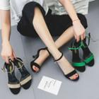 Faux-suede Ankle-strap Low-heel Sandals