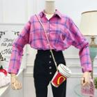 Heart-embroidered Plaid Shirt