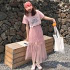 Set: T-shirt Dress + Mesh Maxi Skirt