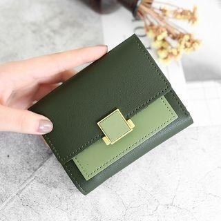 Color Panel Faux Leather 3-fold Wallet