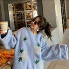 Pineapple Embroidered Sweatshirt