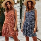 Printed Sleeveless Button A-line Dress