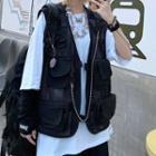 Buckled Mesh Cargo Vest Black - One Size