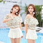 Set: Floral Print Off Shoulder Swim Top + Swim Skirt