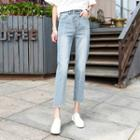 Seam Front Cropped Washed Jeans