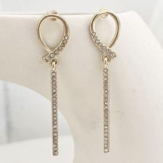 Rhinestone Drop Earrings Studded Earring - One Size
