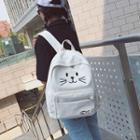 Cat Face Canvas Backpack