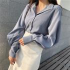 Plain Puff-sleeve Loose-fit Long-sleeve Blouse