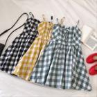 Color-block Plaid Sleeveless Dress