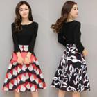 Patterned Panel A-line Dress