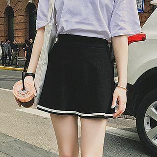 Stripe Trim A-line Skirt
