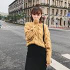 Batwing-sleeve Cable Knit Sweater