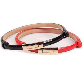 Faux Patent Leather Slim Belt
