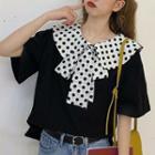 Short-sleeve Dotted Collar T-shirt