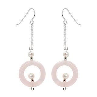 Silver Fresh Water Pearls, Rose Quartz Earrings